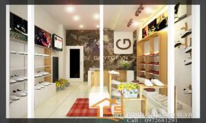 Nội thất chàng sơn - thiết kế nội thất shop giày nam tại Cù Chính Lan