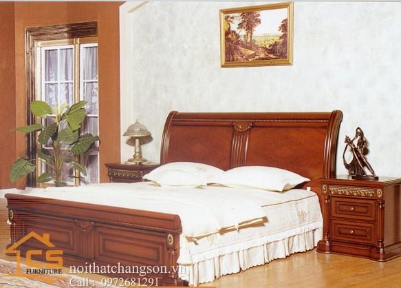 Hình ảnh giường ngủ gỗ đẹp, giường ngủ giá rẻ GNĐ 13 - nội thất chàng sơn