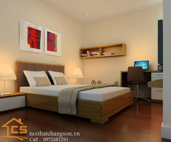 Hình ảnh giường ngủ gỗ đẹp, giường ngủ giá rẻ GNĐ 15 - nội thất chàng sơn