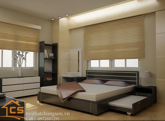 Hình ảnh giường ngủ gỗ đẹp, giường ngủ giá rẻ GNĐ 16 - nội thất chàng sơn