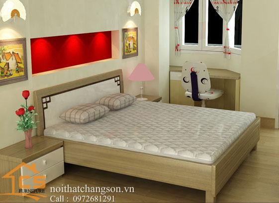Hình ảnh giường ngủ gỗ đẹp, giường ngủ giá rẻ GNĐ 27 - nội thất chàng sơn