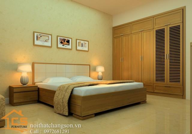 Hình ảnh giường ngủ gỗ đẹp, giường ngủ giá rẻ GNĐ 21 - nội thất chàng sơn
