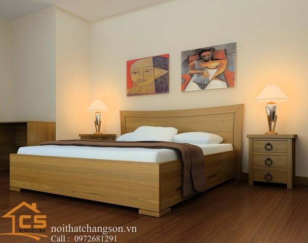 Hình ảnh giường ngủ gỗ đẹp, giường ngủ giá rẻ GNĐ 26 - nội thất chàng sơn